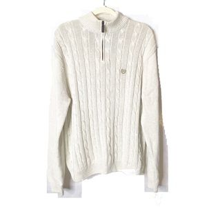 Chaps | Oatmeal 3/4 Zip Cable Knit Sweater | XL